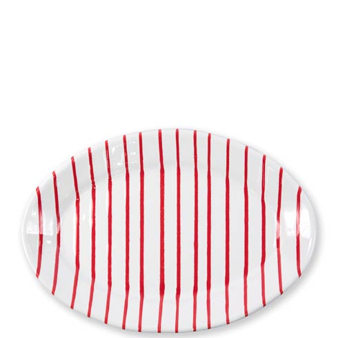 Vietri  Stripe Red Small Oval Platter $84.00