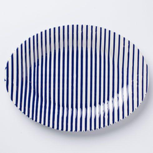 Vietri Net & Stripe Stripe Medium Oval Platter $98.00