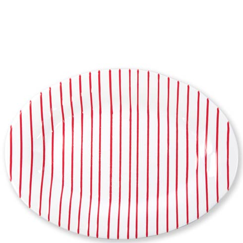 VIETRI Net & Stripe Stripe Red Red Medium Oval Platter $99.00