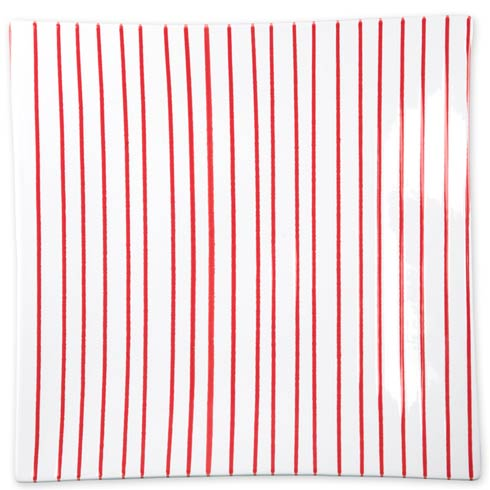 Vietri Net & Stripe Stripe Red Stripe Red Square Platter $104.00
