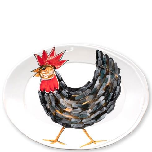 Vietri  Fortunata Rooster Small Oval Platter $74.00