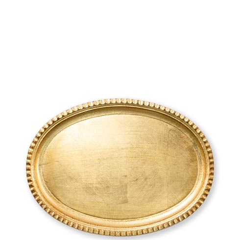 Vietri  Florentine Wooden Accessories Gold Gold Small Oval Tray $51.00