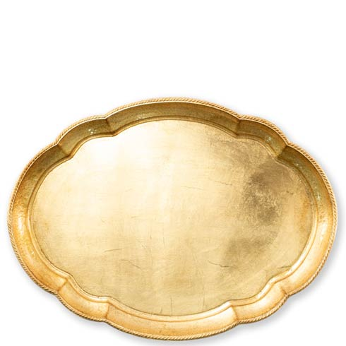 Vietri  Florentine Wooden Accessories Gold Large Oval Tray $142.00