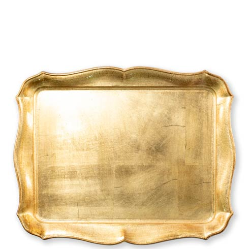 VIETRI  Florentine Wooden Accessories Gold Gold Rectangular Tray $127.00