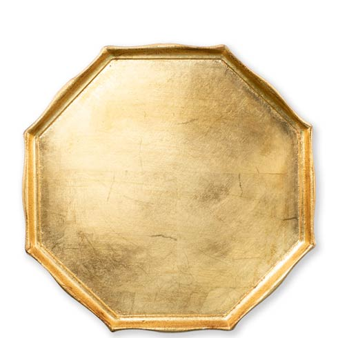 VIETRI  Florentine Wooden Accessories Gold Gold Octagonal Tray $85.00