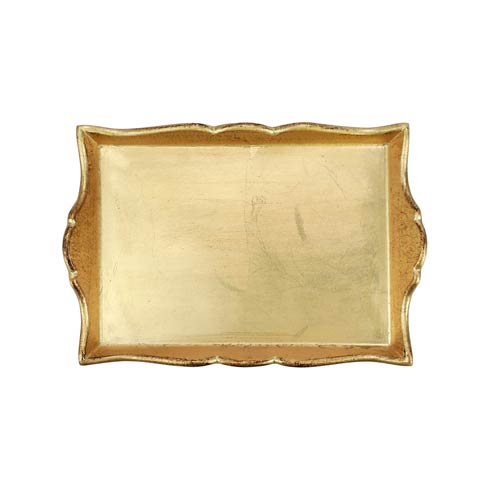 $84.00 Florentine Wooden Accessories Gold Handled Small Rectangular Tray