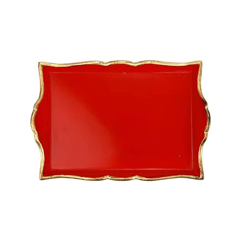 $84.00 Florentine Wooden Accessories Red & Gold Handled Small Rectangular Tray