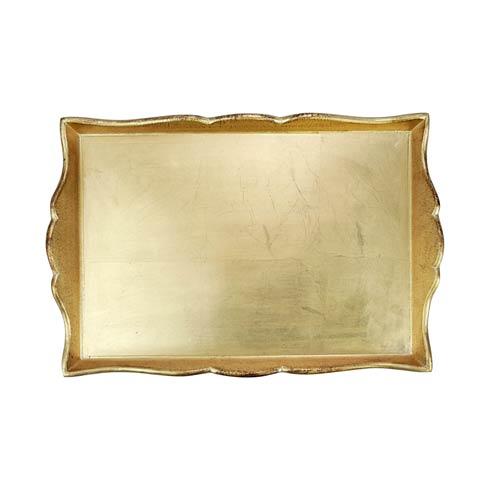 $114.00 Florentine Wooden Accessories Gold Handled Medium Rectangular Tray