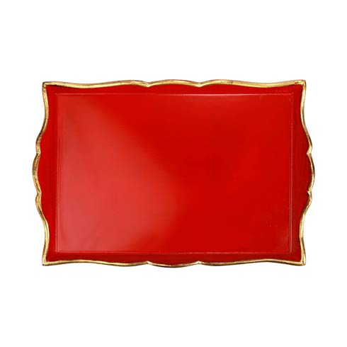$114.00 Florentine Wooden Accessories Red & Gold Handled Medium Rectangular Tray