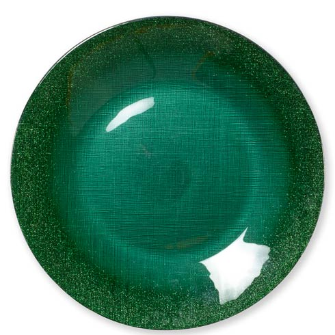 $25.00 Glitter Glass Emerald Service Plate/Charger