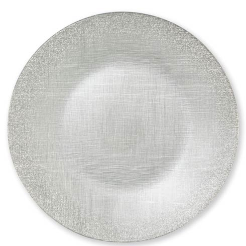 $25.00 Glitter Glass Silver Service Plate/Charger