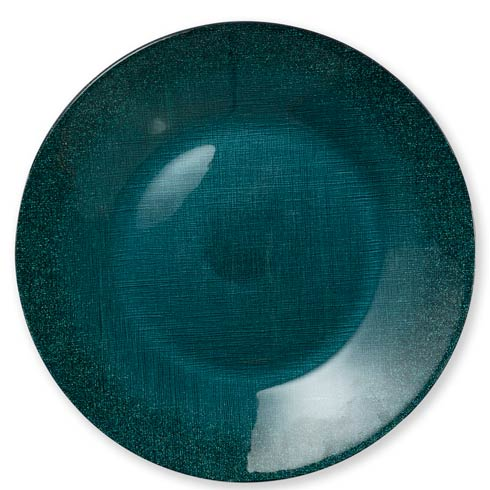 $25.00 Glitter Glass Teal Service Plate/Charger