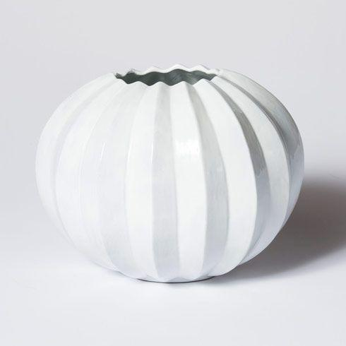 Vietri Incanto White Pleated Round Vase $136.00