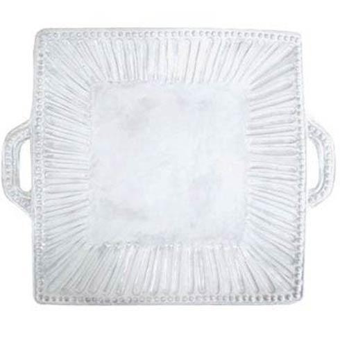 Vietri Incanto White Stripe Square Handled Platter $157.00