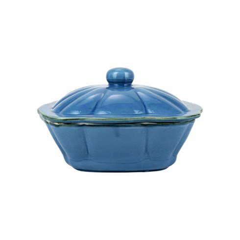 $68.00 Italian Bakers Blue Square Covered Casserole Dish
