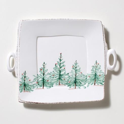 Vietri Lastra Holiday Handled Square Platter $138.00