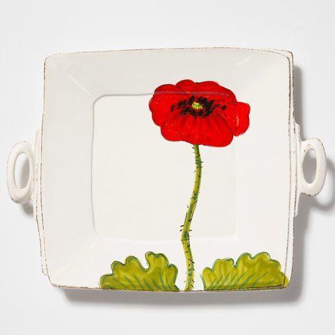 $150.00 Lastra Poppy Handled Square Platter