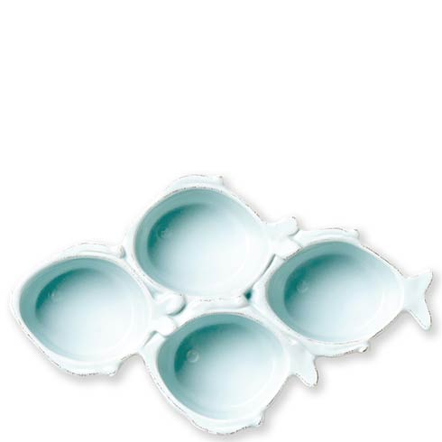 Vietri Melamine Melamine Lastra Fish Melamine Lastra Fish Aqua Four-Part Server $40.00