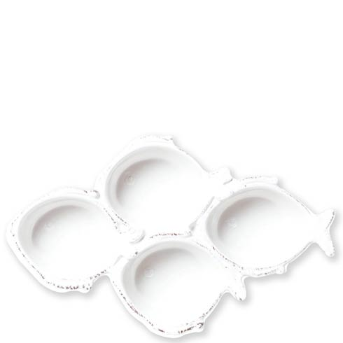 Vietri Melamine Lastra Fish White Four-Part Server $41.00
