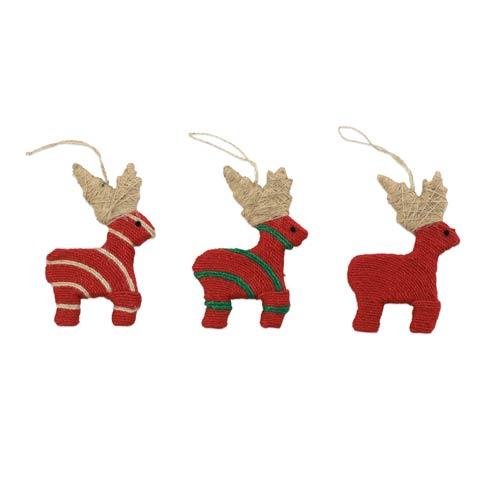 $24.00 Assorted Reindeer Ornaments - Set of 3