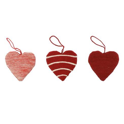 $24.00 Assorted Heart Ornaments - Set of 3