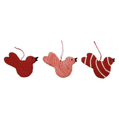 $24.00 Assorted Red Bird Ornaments - Set of 3