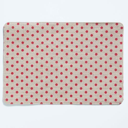 VIETRI  Old St. Nick Red and Natural Striped/Dot Reversible Placemat $8.00