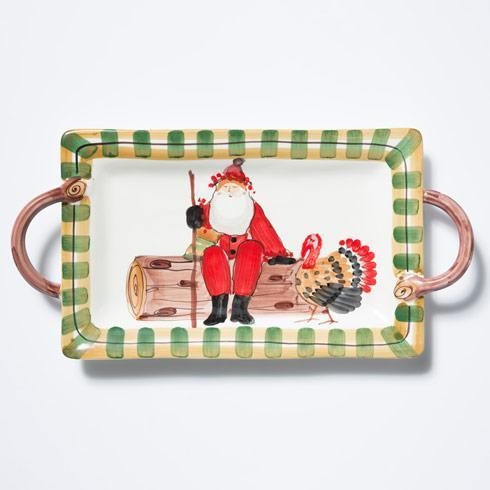 Vietri  Old St. Nick Handled Rectangular Platter with Turkey $185.00