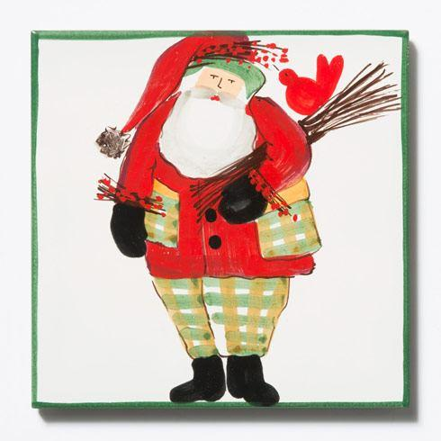 VIETRI  Old St. Nick Trivet - Green Border w/ Wood Pile $44.00