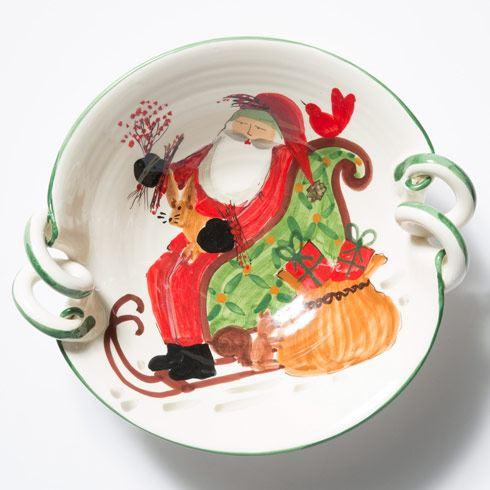 VIETRI  Old St. Nick Scallop Handled Bowl w/ Sleigh $161.00