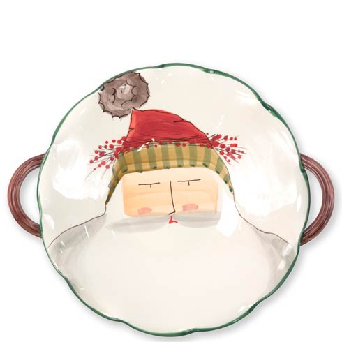 Vietri  Old St. Nick Scallop Handled Bowl with Face $205.00