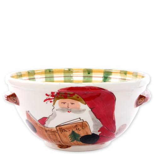 $203.00 Handled Medium Bowl with Santa Reading