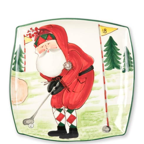 Vietri  Old St. Nick Square Platter - Golfing $128.00