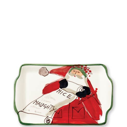 Vietri  Old St. Nick Rectangular Plate - Naughty or Nice $57.00