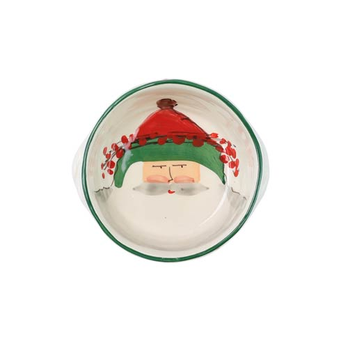 VIETRI  Old St. Nick Small Handled Round Baker $73.00
