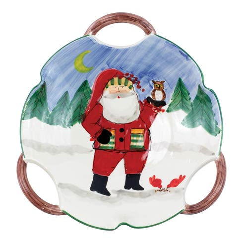 $206.00 Handled Scallop Bowl - Santa w/ Owl