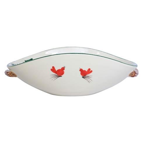 $222.00 Handled Shallow Oval Bowl - Santa w/ Bagpipes