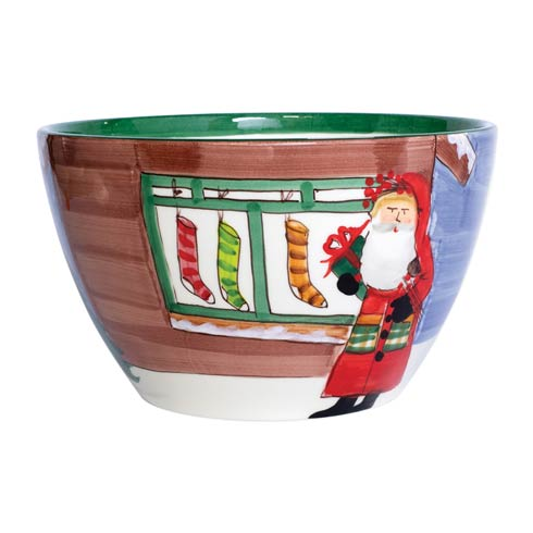 $240.00 Large Deep Bowl - Santa w/ Stockings