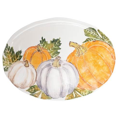 Pumpkin Large Oval Platter w/ Assorted Pumpkins
