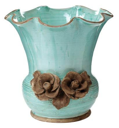 Vietri Rustic Garden Garden Aqua Scalloped Planter with Flowers $298.00