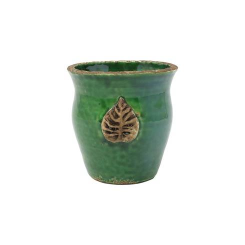 $34.00 Rustic Garden Emerald Green Small Cachepot w/ Leaf