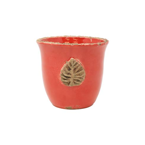 $34.00 Rustic Garden Red Small Cachepot w/ Leaf
