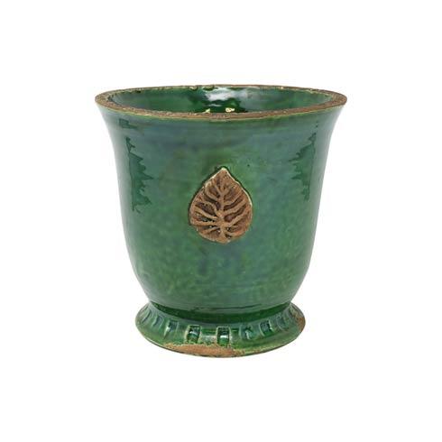 $165.00 Rustic Garden Emerald Green Medium Cachepot w/ Leaf