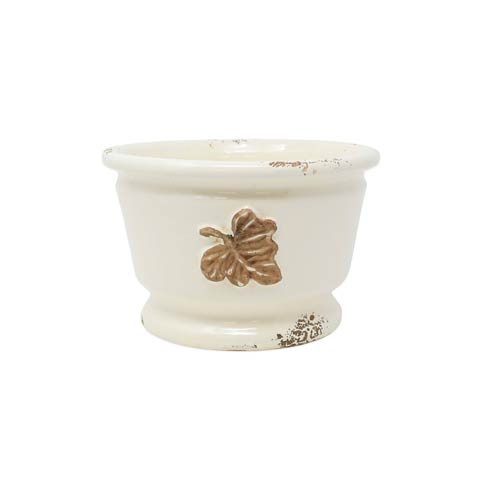 $158.00 Rustic Garden Leaves Small Round Cachepot