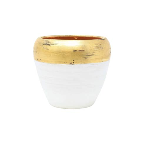 $68.00 Rustic Garden White & Gold Small Cachepot