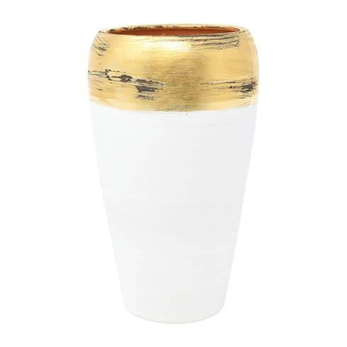 VIETRI Rustic Garden White Gold Vase $93.00