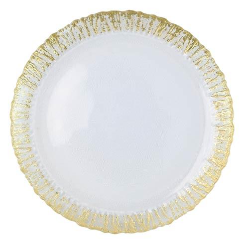 VIETRI  Rufolo Glass Gold Round Platter $44.00