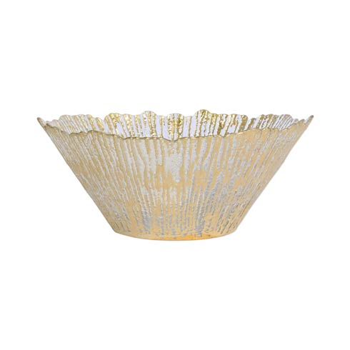VIETRI  Rufolo Glass Gold Large Deep Bowl $51.00