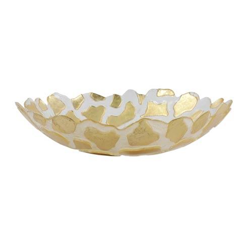 VIETRI  Rufolo Glass Gold Giraffe Medium Shallow Bowl $59.00