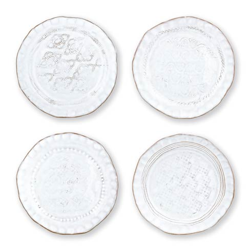 $87.00 White Assorted Canape Plates – Set of 4